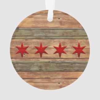 シカゴのヴィンテージの木製の一見の旗 オーナメント