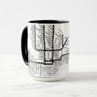 シカゴのヴィンテージはCTA停止地図の列車を上げました マグカップ