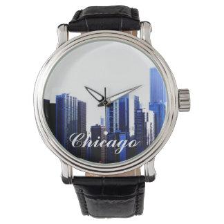 シカゴのヴィンテージ革バンドの腕時計 腕時計