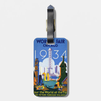 シカゴの万国博覧会の1934年のヴィンテージの荷物のラベル ラゲッジタグ
