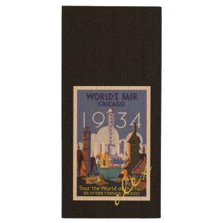 シカゴの万国博覧会の1934年のヴィンテージ旅行ポスター ウッドUSBフラッシュドライブ