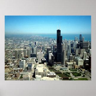 シカゴの写真: 空中写真のスカイライン ポスター