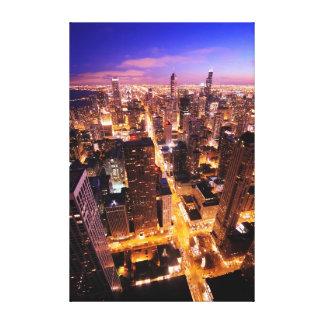 シカゴの夜の都市景観 キャンバスプリント
