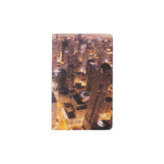 シカゴの夜の都市景観 ポケットMoleskineノートブック