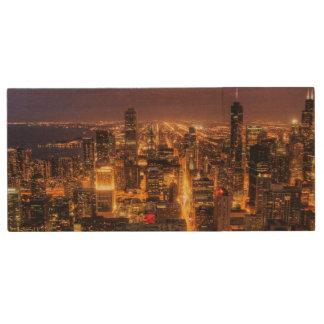 シカゴの夜都市景観 ウッドUSBフラッシュドライブ