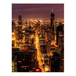 シカゴの夜都市景観 ポストカード