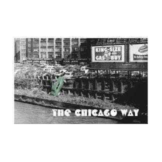 シカゴの方法怒っているモーターリストCOLORSPLASHのアンティーク キャンバスプリント