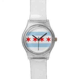 シカゴの旗が付いている愛国心が強い子供の腕時計 腕時計