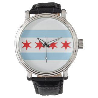 シカゴの旗が付いている愛国心が強く、特別な腕時計 腕時計