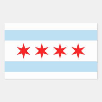 シカゴの旗のステッカー 長方形シール