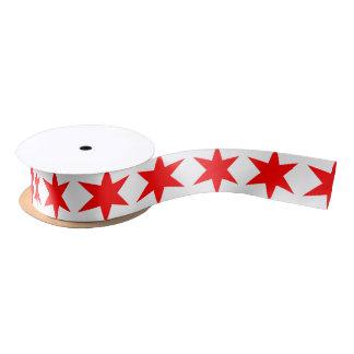 シカゴの旗の6先の尖った星 サテンリボン
