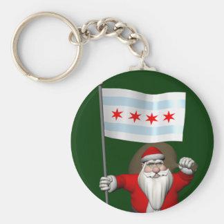 シカゴの旗を持つサンタクロース キーホルダー