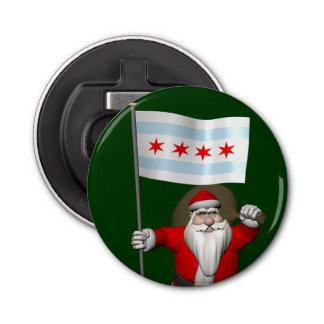 シカゴの旗を持つサンタクロース 栓抜き