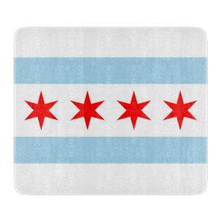シカゴの旗を持つ小さいガラスまな板 カッティングボード