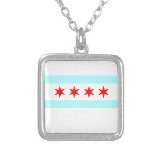 シカゴの旗 シルバープレートネックレス