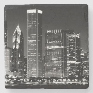 シカゴの有名な都市景観の夜眺め ストーンコースター