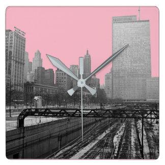 シカゴの柵のヤードの都心の60年代の鉄道写真 スクエア壁時計