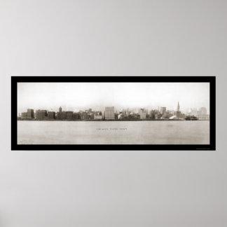 シカゴの水辺地帯の写真1907年 ポスター