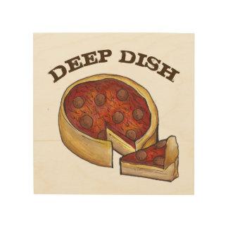 シカゴの深い皿のPepperoniピザ台所食糧 ウッドウォールアート