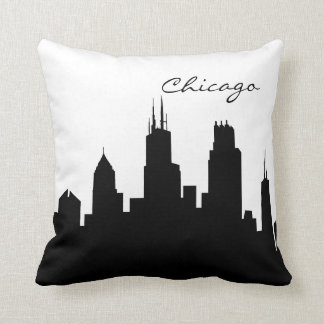 シカゴの白黒スカイライン クッション