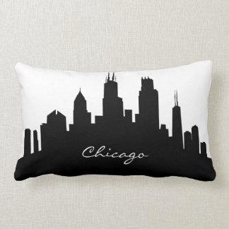 シカゴの白黒スカイライン ランバークッション