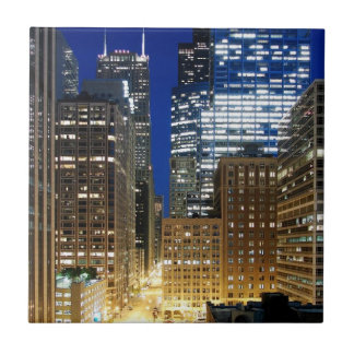 シカゴの都市景観の夜眺め 正方形タイル小