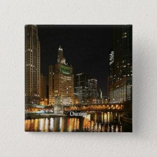 シカゴの都市景観 5.1CM 正方形バッジ