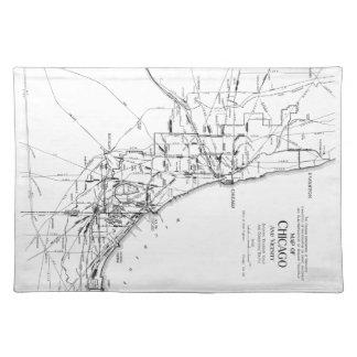 シカゴの鉄道Network (1913年)のヴィンテージの地図 ランチョンマット