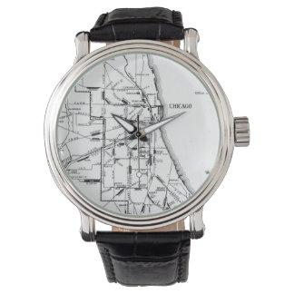 シカゴの鉄道Network (1913年)のヴィンテージの地図 腕時計