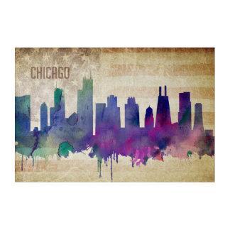 シカゴのIL|の水彩画都市スカイライン アクリルウォールアート