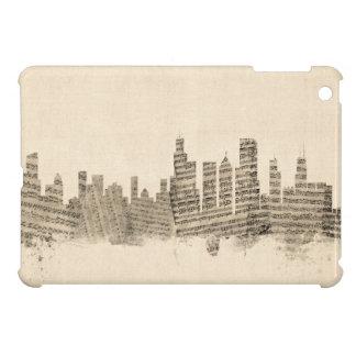 シカゴイリノイのスカイラインの楽譜の都市景観 iPad MINIケース
