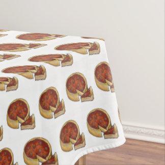 シカゴスタイルの深い皿のPepperoniピザグルメ テーブルクロス