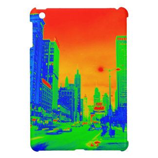 シカゴミシガン州の道@夜1967ネオンのカラフル iPad MINIケース
