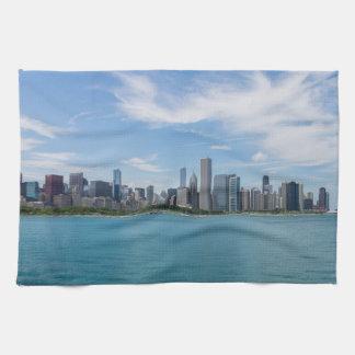 シカゴ日の都市景観 キッチンタオル
