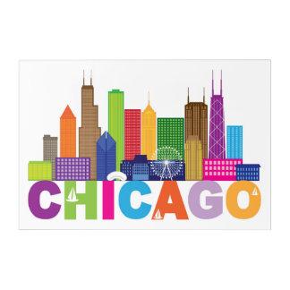 シカゴ都市スカイラインのタイポグラフィ アクリルウォールアート