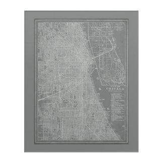 シカゴ都市地図のスケッチ アクリルウォールアート
