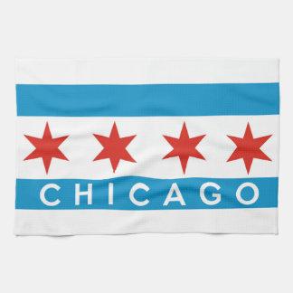 シカゴ都市旗アメリカの文字の名前 キッチンタオル