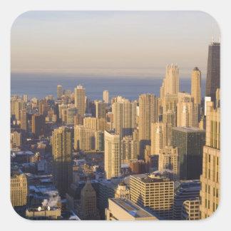 シカゴ、イリノイのシアーズ・タワーからのスカイライン スクエアシール