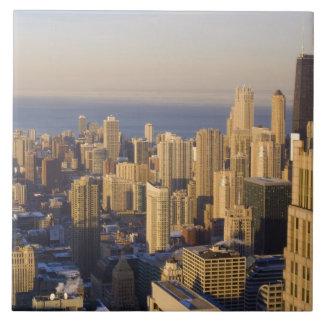 シカゴ、イリノイのシアーズ・タワーからのスカイライン 正方形タイル大