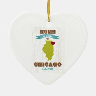 シカゴ、イリノイの地図-ハートがあるところでがあります家 陶器製ハート型オーナメント