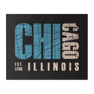 シカゴ、イリノイ|の写実的な地図 アクリルウォールアート