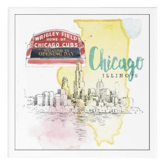 シカゴ、イリノイ|の水彩画のスケッチのイメージ アクリルウォールアート