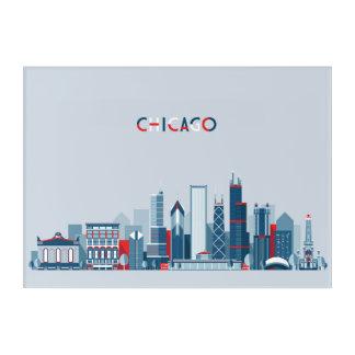シカゴ、イリノイ|の赤く、白くおよび青のスカイライン アクリルウォールアート