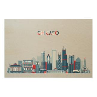 シカゴ、イリノイ|の赤く、白くおよび青のスカイライン ウッドウォールアート