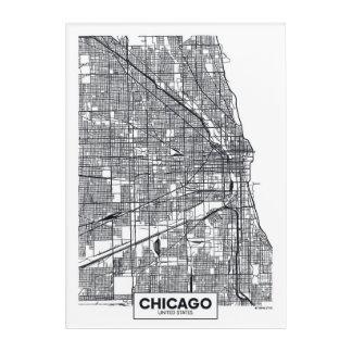 シカゴ、イリノイ|白黒都市地図 アクリルウォールアート