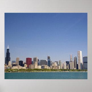 シカゴ、イリノイ、米国のスカイライン ポスター