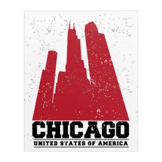 シカゴ、イリノイ|赤い都市スカイライン アクリルウォールアート