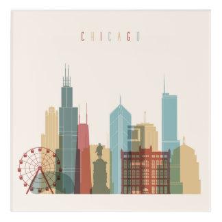 シカゴ、イリノイ|都市スカイライン アクリルウォールアート