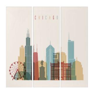 シカゴ、イリノイ|都市スカイライン トリプティカ