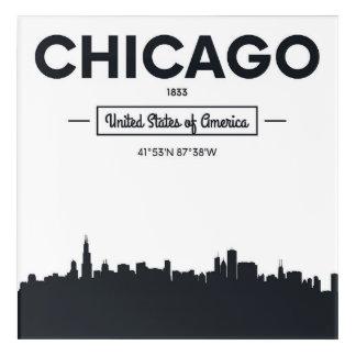 シカゴ、イリノイ|都市座標 アクリルウォールアート